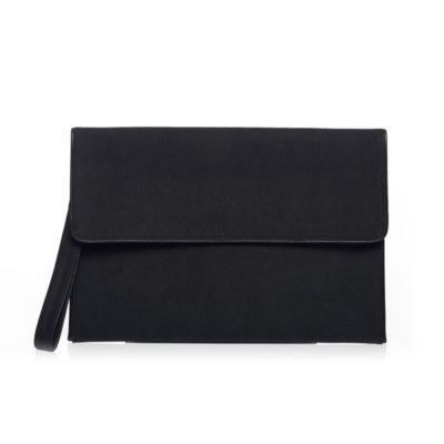 BLACK CANVAS LEAF CLUTCH