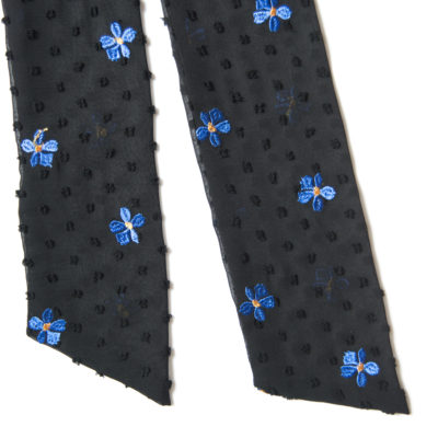 SHEER BLACK DOTS AND BLUE FLOWERS SCARF-STYLE BOW