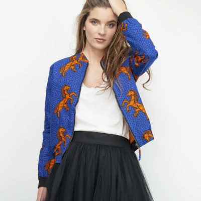 BLUE & ORANGE JUMPING WAX PRINT BEAR JACKET (CAPSULE COLLECTION)