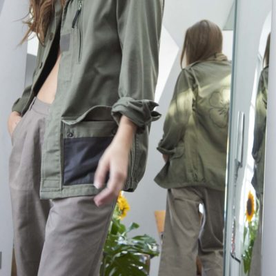 ARMY MILITARY HIBISCUS EMBROIDED KAKI JACKET