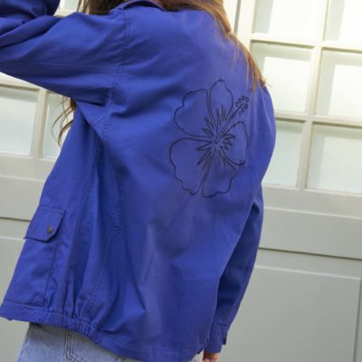 ARMY MILITARY HIBISCUS EMBROIDED BLUE JACKET