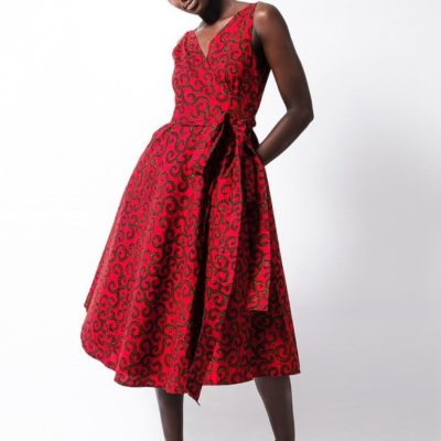 FOLD wrap red dress in african print