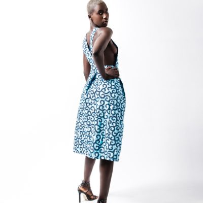 "BUCKLE DRESS IN BLUE AFRICAN ""BRAMBLES"" PRINT"