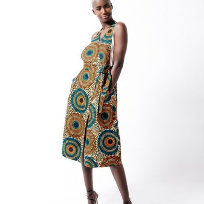 "BUCKLE DRESS IN AFRICAN PRINT ""CIRCLES"""