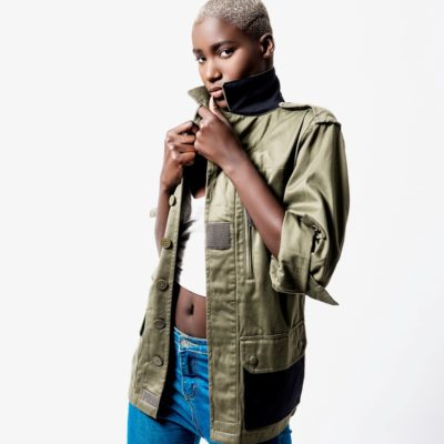 UNISEX ARMY MILITARY AFRICA EMBROIDED JACKET IN KAKI