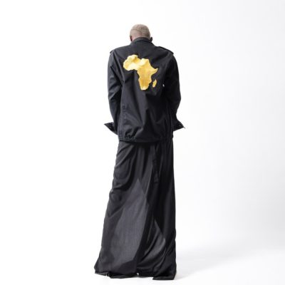 UNISEX ARMY MILITARY AFRICA EMBROIDED JACKET IN BLACK & GOLD